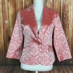 Le Chateau Coral Metallic Damask One Button Blazer